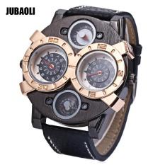 Ongkos Kirim Jubaoli Pria Dual Movt Quartz Watch Kreatif Double Dial Dekoratif Kompas Jam Tangan Intl Di Tiongkok