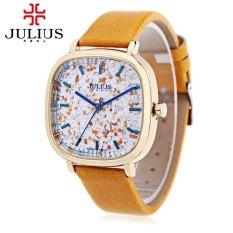 Harga Julius Ja 889 Perempuan Kuarsa Perhiasan Sifat Tahan Air Berkilau Dial Square Band Kulit Asli Jam Tangan Termahal