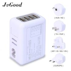JvGood International Universal Travel Adaptor Daya dengan 2.4A 4 USB Charger & Seluruh Dunia Stopkontak AC Plugs
