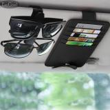Cuci Gudang Jvgood Pu Leather Car Sun Visor Organizer Ticket Credit Card Sunglass Storage Holder With Car Glasses Holders Clipper Black