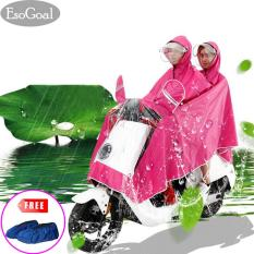 Jual Jvgood Rain Poncho Two Person Lengthen Reflective Raincoat Waterproof Motorcycle Scooter Rain Hoodie Coat With Mirror Slot Hotpink Murah