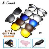 Jvgood Magnetic Sunglasses Klip Pada Kacamata Unisex Polarized Lensa Retro Bingkai Dengan Set 5 Lensa Running Driving Fishing Golf Baseball Glasses Tiongkok