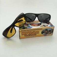 HD Vision Sunglasses 1 Box Isi 2 Kacamata  Berkendara Anti Silau Siang & Malam