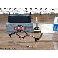 Kacamata Frame Korea Vintage Kacamata Minus Frame Club Master Bulat - 5Sag3w