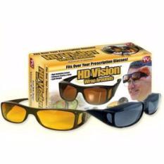 Kacamata HD Vision Sunglasses Anti Silau Siang & Malam 2 PCS Sangat Mendukung Untuk Berkendara