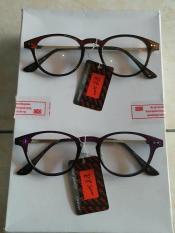 Kacamata Korea Murah Fashion Oval Coklat Dan Ungu Gagang Besi Trendy