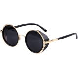 Kacamata Pria Dan Wanita Vintage Retro Mirror Steampunk Golden Gray Universal Diskon 40