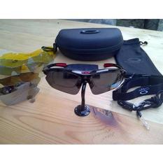 Beli Kacamata Pria Sport Polarized Aviator Hitam 6 Lensa Online Terpercaya