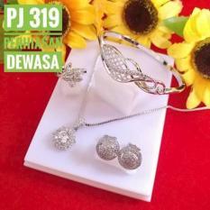 Kado Istimewa Set Perhiasan Bulat Lapis Emas Putih By Joyshopaksesoris.