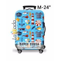 Kain pembungkus koper motif blue marine ukuran medium M 24inch