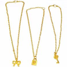 Kalung Emas Liontin Paket Grosir Murah isi 24 - Kalung Emas imitasi Aksesoris Imitasi Fashion Anak dan Wanita