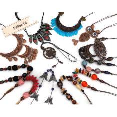 Kalung Kayu isi 12 buah harga murah asli dari perajin yogyakarta