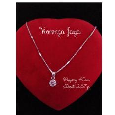 Harga Kalung New Italy Perak 925 Perhiasan Silver Lapis Emas Putih Kalung Wanita Import Set Liontin Permata Branded