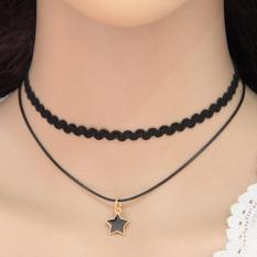 LRC Kalung Wanita Elegant Black Star Shape Pendant Decorated Double Layer Design