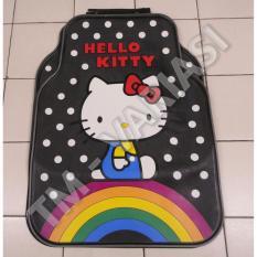 Karpet mobil Universal Motif Hello Kitty Pelangi Dasar Hitam