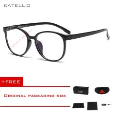 Beli Kateluo Retro Eyeswear Tr90 Anti Komputer Biru Kelelahan Laser Radiasi Tahan Kacamata Kacamata 9930 Hitam