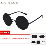 Promo Kateluo Round Sunglasses Unisex Retro Polarized Lens Driver Pria Wanita Vintage Sun Glasses Outdoor Fashion 7758 Hitam Beli 1 Gratis 1 Freebie