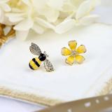 Beli Kecil Lebah Anting Murni Jarum Perak Anting Bunga Asimetris Terbaru
