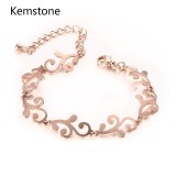 Harga Kemstone Exquisite Titanium Steel Rose Gold Plated Flower Pattern Bracelet Intl Terbaik