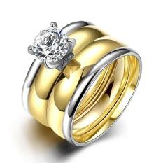 Kemstone Baja Titanium Berlapis Emas Cincin Berlian untuk Wanita Pria Pecinta Cincin Pertunangan Pernikahan Cincin Set 2 In 1 Ring -Intl
