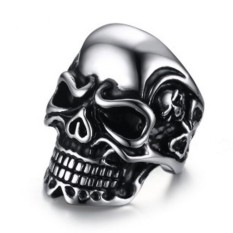 Penawaran Istimewa Kemstone Vintage Punk Crystal Skull Rings Titanium Steel Ghost Head Ring For Men Intl Terbaru