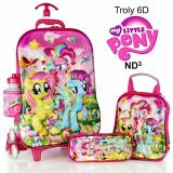 Jual Kenzo Shop Little Pony 3D Timbul Tas Trolley Anak 4 In 1 Set 6 Roda Gagang Samurai Import Pink Tas Import