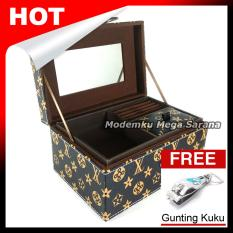 Kerajinan Jogja Kotak Box Perhiasan Kalung Gelang Cincin & Aksesoris 21x14x11 cm - Coklat Motif