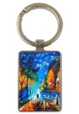 Keychain Lukisan Minyak-Kencan Malam Ini untuk Keyring Pria Kreatif Paduan Logam Keyfob Hadiah Car Key Rantai Cincin Gantungan Kunci-Intl