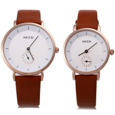 Kezzi KW-1080 Pasangan Jam QUARTZ Round Dial dengan Kecil Kedua Dial Jam Tangan-Intl