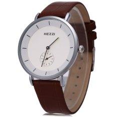 KEZZI KW-1080G Pria Jam Kuarsa Bulat Dial dengan Kecil Kedua Dial Wristwatch (BROWN)