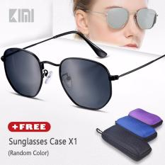 KIMI Kacamata Polarized Pria Hitam Segi Delapan Unisex Square Sunglasses Fashion Round Designer Bingkai Desain Klasik Kacamata Lensa Gradien Mirrored Paduan Eyewear