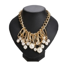Kimito Toprank Women Ladies Statement Choker Beads Pendant Necklace Link Chain Party Accessory Fashion Jewelry KM2ELV