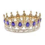 Harga King Queen Bridal Crown Rhinestone Tiara Rambut Berlapis Emas Perhiasan Biru Intl Paling Murah