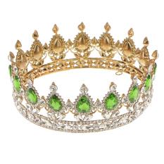 Promo King Queen Bridal Crown Rhinestone Tiara Rambut Berlapis Emas Perhiasan Hijau Intl