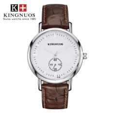 KINGNUOS 016 grade Fashion able Striped Scale Quartz Non-mechanical Belt Watch White plate + brown belt - intl