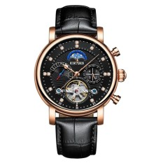 Harga Kinyued Luxury 3Atm Water Proof Automatic Mechanical Watch Genuine Leather Skeleton Man Business Wristwatch Chrono Moon Phase Week Calendar Box Intl Paling Murah
