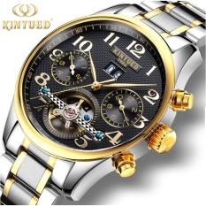 Beli Kinyued Swiss New Fashion Men S Automatic Mechanical Watch Gold Business Waterproof Wristwatch Terbaru