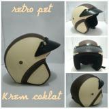 Toko Kiosstore Helm Retro Klasik Full Kulit Sintetis Model Pet Coklat Krem Lengkap Di Jawa Timur