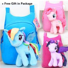 Kisnow 2 In 1 Kids Baby Super Soft Unicorn Kuda Mewah + School Travel Shoulder Bag Ransel (Warna: Biru) (Biru)-Intl