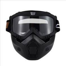 Knight Pakaian Retro Harley Masker Sepeda Motor Silang-Country Balap Kacamata Olahraga Berkuda Helm Kacamata Horse Masker (Hitam) -Internasional