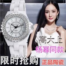 Jam Tangan Produk Asli Keramik Jam Tangan QUARTZ Korea Fashion Style Batu Kristal Air Warna Putih Wanita Suasana Siswa Tahan Air