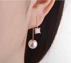Korea Fashion Style Elegan Mutiara Anting Hook Anting-anting Perak