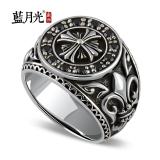 Harga Korea Fashion Style Sintetis Obsidian Cincin Perak Cincin Online Tiongkok