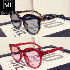 Korea Jeon Ji Kacamata Hitam Film Tembus Pandang Berbentuk Bulat Kacamata Kacamata Dekoratif Wanita Leopard-Internasional
