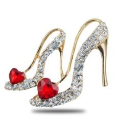 Spek Korea Fashion Gem Love High Heels Fashion Korsase Bros Pin Perhiasan Aksesoris Pernikahan Intl Oem