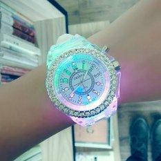 Harga Korea Fashion Jam Tangan Pasangan Geneva Emitting Luminous Watchsilicone Quartz Watch Diamond Edge Putih Intl Termahal