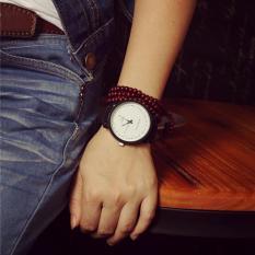 Korea Harajuku Ringkas Casual QUARTZ Polish Leather Strap Pecinta Barang Antik Watch-Intl