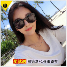 Korean version of the 2018 new KW personality rice nail sunglasses red star with the retro arrow round face sunglasses female tide - intl