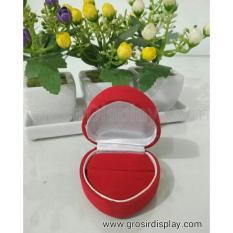 Kotak Tempat Cincin Bentuk Love Display Cincin Couple Sepasang Seserahan Lamaran Merah