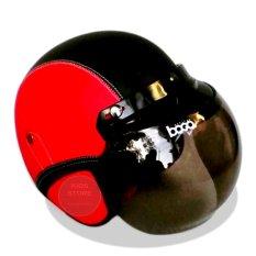 Kreasi Lokal - Helm Retro Classic Kaca Bogo Dewasa - Merah Hitam